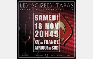 Soirée TAPAS pour la Retransmission Match France / All Blacks Au Gardanne Rugby Club